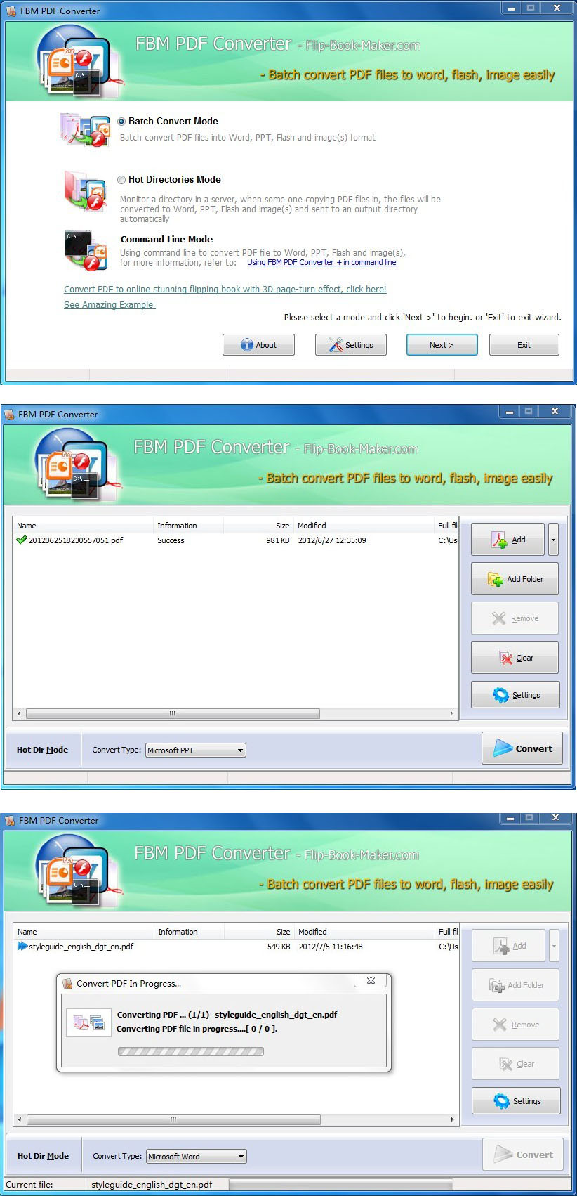 Click to view FBM PDF Converter 1.6 screenshot